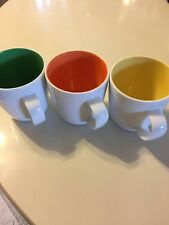 White Crate And Barrel Coffee Mugs With Colored Inside, Set Of Three