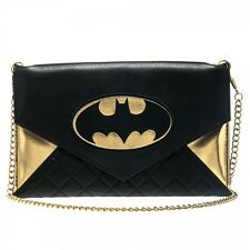 "Batman Logo Black/Gold Woman Envelope Cross Body Wallet Bag 48"" Chain"