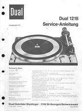 Dual Service Manual für 1218