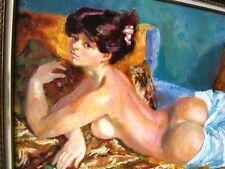 """BERTHOMME ST-ANDRE (1905-1977) """"Monique au divan"""" - Belle huile sur toile 1945"""
