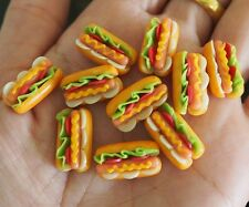 10 Dolls House Miniature Hot Dog And Lettuce in Bun with Mustard Swirls Food