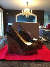Nib Christian Louboutin Coroclic 140Mm Leopard Pony Cork Wedge Pump $745 Sz 41