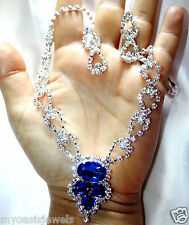 Rhinestone Choker Necklace Earring Set Blue Austrian Crystal Bridal Pageant Prom