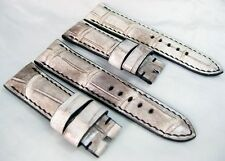 Handmade WHITE genuine crocodile leather strap oval holes 24mm fits Panerai, PAM