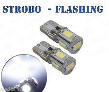 2 Ampoules w5w T10 LED Blanc Veilleuses feux  Positions STROBO FLASH Stroboscope
