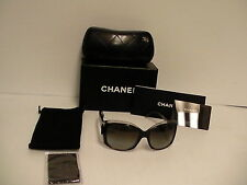 Authentic Chanel Sunglasses Style 5227-H, square black frame gray lenses new