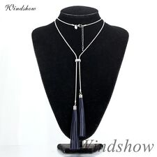 Fashion White Gold GF 18K Blue Leather Tassels Pendant Snake Chain Max Necklace