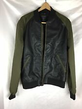 Guess Mens Leather Contrast Sleeves Athletic Jacket - Size M