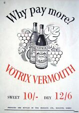 1949 'VOTRIX' Sweet & Dry Vermouth Print ADVERT - Small Vintage Original Ad