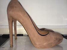 *NEW ALAIA Azzedine Celebrity Suede Brown Beige Nude Court Pump Heel Shoes 8 US