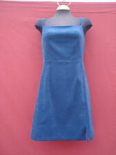 NWT Express Blue Polyester Faux Suede Sleeveless Women's Pinafore Dress 7/8