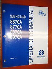 2001 NEW HOLLAND 8670A 8770 8870 8980 TRACTOR ORIGINAL FACTORY OPERATORS MANUAL