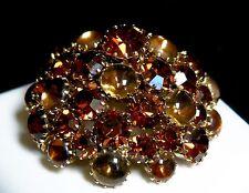Vintage Stunning Schreiner Domed Honey Amber Glass & Topaz Rhinestone Brooch