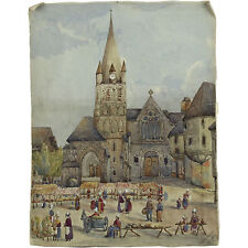 The Marketplace Montivilliers Normandy France 1876 Signed Watercolour Painting