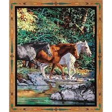 Horses Wall Hanging Quilting Panel Cotton Fabric - Wild Wings Endless Summer