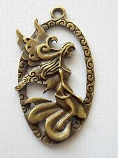 3x Antique Bronze Angel Fairy Charm Pendant Oval 45mm Jewellery Making (TSC72)