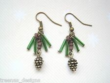 *BRONZE PINE CONE ON SPRIG OF LEAVES* Glass Beaded Drop Earrings GIFT BAG XMAS