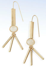 DANIELLE NICOLE Gold-Tone Golden Dusk JADE Cabochon Drop EARRINGS