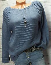 Trendy Italy Strick  Wollmix Stern Pullover Blau Neu 36 38 S M