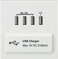 Knightsbridge 1G 1 Gang Quad 4x USB Charger Slot Port Socket 5V DC 5.1A White