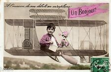 BL158 Carte Photo vintage card RPPC Enfant fantaisie aviation avion