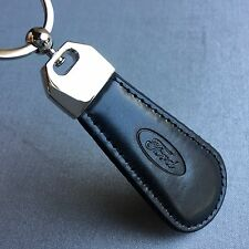 NEW FORD LOGO LEATHER LOOK BLACK KEYCHAIN KEY-CHAIN Key Ring KC068