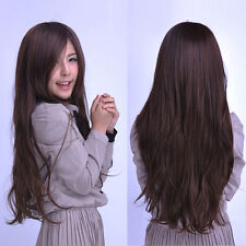 Womens Long Straight Curly Full Wig Hair Cosplay Party Dark Brown Synthetic Wig