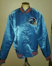 VINTAGE LOCKER LINE NEW YORK GIANTS BLUE SATIN NFL FOOTBALL JACKET MENS L COAT