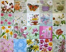 BUTTERFLIES & FLOWERS 20 single COCKTAIL size paper napkins for decoupage 3-ply