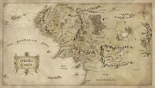 "Map of Middle Earth Lord Of The Rings Silk Cloth Poster 43 x 24"" Decor 42"