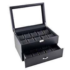 Caddy Bay Collection Black Carbon Fiber Pattern Yellow Stitching Watch Box Displ