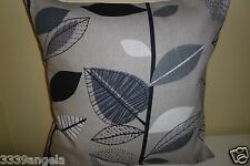 """16"""" NEW CUSHION COVER 50s RETRO AUTUMN LEAVES FLOWER BLACK TAUPE GREY VINTAGE"""