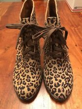 Lucky Brand Leather Leopard Print Lace-Up Wedge Boots Brown Size 8 (KM)