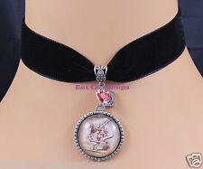 Goth Black Velvet Choker Necklace White Rabbit Alice in Wonderland Cameo Pendant