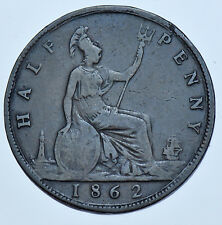 EXTREMELY RARE 1862-A HALFPENNY, MINTMARK A, BRITISH COIN FROM VICTORIA FINE