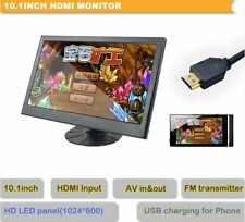 "10,1"" Monitor LED Panel 1024x600 HDMI FM Transmitter Touchbutton USB Slot"