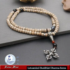 Lotusmind Tibetan 7*5 Lotus seed 108 prayer beads mala Double Dorje pendant