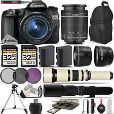 Canon EOS 70D SLR Wi-Fi Camera + 18-55mm IS STM Lens + 650-1300 Zoom + 500mm
