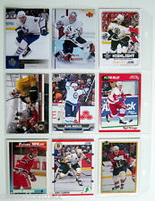1990-2013'S LOT OF 9 HOCKEY CARDS + 1 PLASTIC SHEET FOR COLLECTORS ALBUM