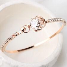 Mode Kristall Strass Gold Herz Liebe Damen Armband Armreif Schmuck Neu