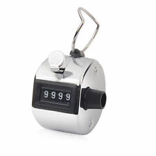 FOUR  Metal 4 x Digit Hand Tally Counter Chrome Manual Clicker Palm held