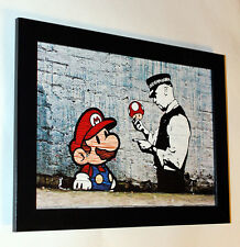 Banksy Super Mario  framed 6.8X8.8 canvas print poster street art graffiti