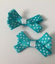 2 Packs Of Sky Blue Polkadot hair bow Clips/aligator Clip/schools Uniform