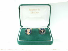 1972 Half P cufflinks from real coins in Blue & Gold