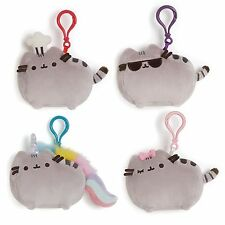 Pusheen Cat Kitty Backpack clips set of 4 Gund 4048880 Puffy Stickers included!