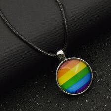 1 Pc Adjustable Necklaces Rainbow Gay Pride Glass Cabochon Jewelry Accessory
