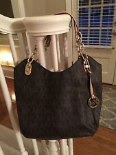 Michael Kors Signature MK Logo PVC Leather Brown Large Lilly Handbag