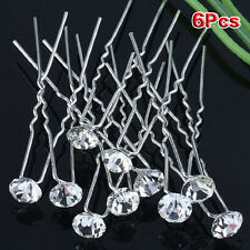 (Pack of 6 pcs) Crystal Rhinestones Hair Pins LW
