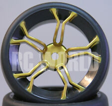 RC Car 1/10 DRIFT WHEELS TIRES Package 3MM Offset GOLD 5 Star w/ Black LIP
