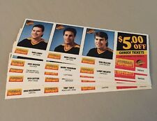 1987-88 VANCOUVER CANUCKS SHELL TEAM ISSUE SET IN UNCUT PANELS!!